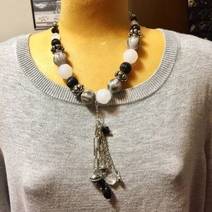 """A chunky large bead necklace with 6"""" tassel"""